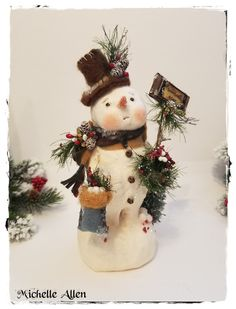 "very detailed large Folk Art paper Clay ""SNOWBALLS FOR SALE""  Winter Snowman Doll handmade by Michelle Allen / Raggedy Pants Designs by RaggedyPantsDesigns on Etsy"