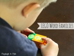 Lego Word Families - Playdough To Plato Literacy Stations, Literacy Skills, Kindergarten Literacy, Early Literacy, Literacy Centers, Preschool, Word Study Activities, Lego Activities, Reading Activities