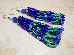 Handmade Blue and Green Earrings Beadwork Seed by SharkysWaters
