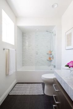 Trendy Bathroom Remodel With Tub Bath Tiles Glass Walls Ideas Bathroom Flooring, Bathroom Fixtures, Bathroom Cabinets, Bathroom Mirrors, Wood Flooring, Restroom Cabinets, Bathroom Tubs, Bathroom Renos, Bathroom Lighting