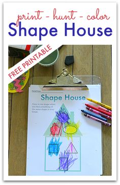 Shape Hunt Worksheet - great dynamic take home activity. FREE printable! #preschool #kidscrafts #efl (repinned by Super Simple Songs)