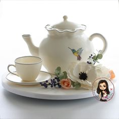 sculpted teapot caked with edible teacup and sugar flowers - Inspired cakes by Amy Bridal Shower Cakes, Tea Party Bridal Shower, Gorgeous Cakes, Amazing Cakes, Teapot Cake, Pistachio Cake, Sculpted Cakes, Cake Gallery, Novelty Cakes