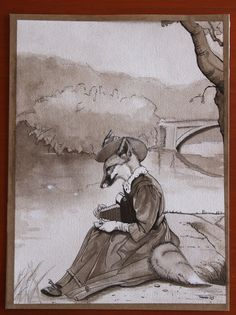 """Camille on the Banks"", ©2013 Tamara David First in a series of Edwardian-era fantasy pen and ink"