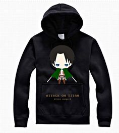 New Attack on Titan Shingeki No Kyojin Levi Black Hoodie Cosplay Thick Sweater All Size and Free Shipping SW89BK
