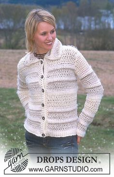 DROPS Crocheted cardigan in Alaska, Eskimo, Symphony, Silke-Tweed and Glitter. Free pattern by DROPS Design.