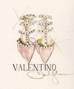 Rockstud heels in vintage pink