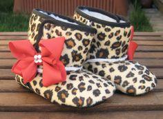 Rockabilly Baby Girl Cheetah Crib Boots With Swarovski Crystals. $15.00, via Etsy.