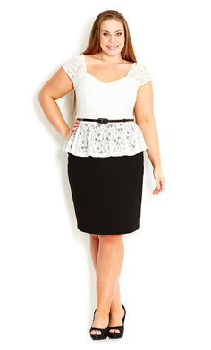 City Chic - LACE PEPLUM DRESS - Women's plus size fashion