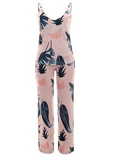 e47e192b780 Gamery Womens Cotton Spaghetti Straps 2 Pieces Outfits jumpsuits Rompers  Long Pants with Leaf Pattern Pink XL     Read more at the image link.