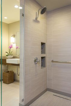 Beauty and style in this walk-in shower #universaldesign #homewithoutage