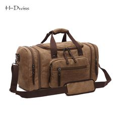 HDWISS Vintage Canvas Men Women Luggage Travel Bags Duffel Duffle Bag Carry on Hand Luggage Trolley Bag Packing Cubes TB018