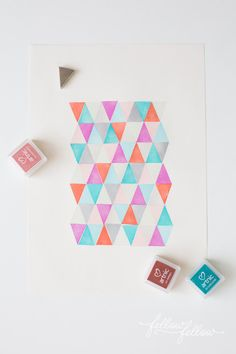 DIY geometric art with simple stamps | How About Orange http://howaboutorange.blogspot.com/2013/05/diy-geometric-art-with-simple-stamps.html