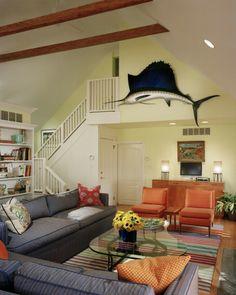 Beach house with a mid century twist. #design #msd #capemay #beachhouse #midcentury #livingroom