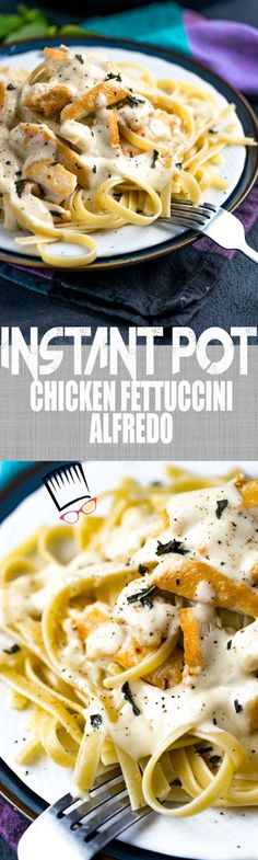 This Instant Pot Chicken Alfredo is a game changer! It's a super simple and quick recipe that puts everything into the Instant Pot and turns out tender chicken and flavorful sauce. Move over, Olive Garden, the Instant Pot is in town. :) #Alfredo #chicken #instantpot #fettuccini