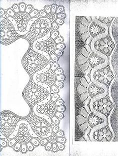 Album Archive - Patterns of Internet (not all complete) Bobbin Lace Patterns, Embroidery Patterns, Embroidery Dress, Bobbin Lacemaking, Parchment Craft, Point Lace, Lace Border, Needle Lace, Lace Making