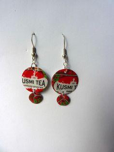 Bijoux recyclés - Boucles d'oreilles spécial thé : Boucles d'oreille par…