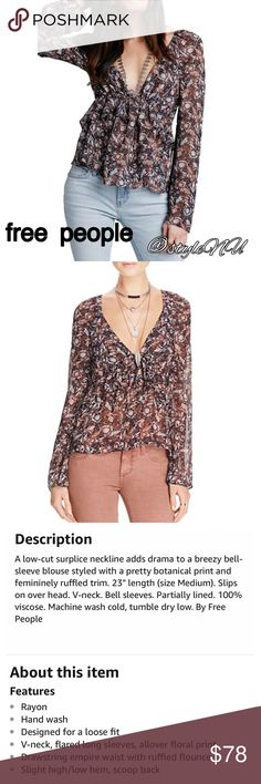 free people low cut v neck top Details in picture 3. Brand new with tags! Free People Tops