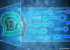 human head  with keyhole and keys psychology concept digital illustration