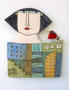 Original Ceramic Art Tile-House-woman Size:20.5/23.5 centimeters *All packages are sent via Bulgarian Posts with priority and with tracking number. Please note, I cannot take responsibility for the postal service. At busy times, items may take longer, so please allow extra