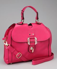 Take a look at this Fuchsia Turnkey Front-Flap Satchel by Adhesion, LLC on #zulily today!