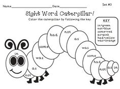 FREE! The Very Hungry Caterpillar Sight Word Color Picture!