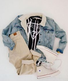 weekend ready with the go-to-sherpa-lined jacket from Summer Outfits Men, Stylish Mens Outfits, Dope Outfits, Sport Outfits, Casual Outfits, Tall Men Fashion, Denim Jacket Fashion, Outfit Grid, Swagg