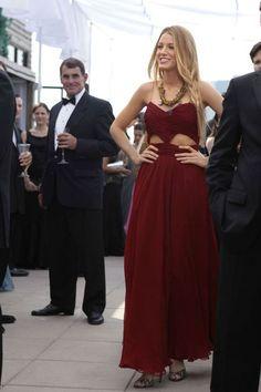 Blake Lively Pleated Burgundy Chiffon Cutout Prom Dress Gossip Girl Fashion