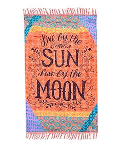 Take a look at this Orange & Blue 'Live by the Sun' Beach Throw today!
