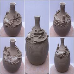 "Fishing village on a bottle. 12"" tall unfired white earthenware. This is a non functional ornamental art piece and the village is loosely based on an English Cornish fishing..."