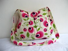 NEW-Multicolor-Canvas-Pleated-Adjustable to Straps-Everyday Bag-Pink Cream Purple Green. 35.00, via Etsy.