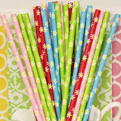 Paper Straw, DAISY PAPER STRAWS, 30 Assorted Daisy Paper Straws with diy flags, Blue Daisy, Green Daisy, Pink Daisy Paper Straw Mix, Flowers on Etsy, $5.50