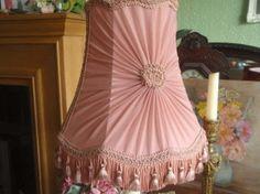 Vintage French Shabby Chic Pink Gathered Chiffon & Braid Florette Lampshade