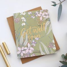 Get Well Soon floral green hand lettered gold foil letterpress printed greeting card - Bespoke Letterpress Letterpress Wedding Invitations, Letterpress Printing, Birthday Gift Wrapping, Engagement Cards, Embossed Cards, Greeting Cards, Gift Cards, Stationery Paper, Love Cards