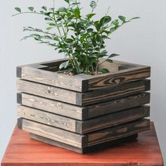 """Buy Flower pot """"Lingonberry"""" - flower pot, gift, flower pot, flower pot, for home and interior Garden Planter Boxes, Wood Planter Box, House Plants Decor, Plant Decor, Wooden Garden Planters, Diy Plant Stand, Wooden Flowers, Woodworking Projects That Sell, Diy Wood Projects"""