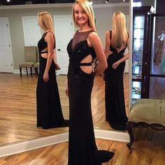 New Arrival Chiffon Evening Dress,Black Prom Dress,Sexy Prom Dresses,Long Party Dress,271