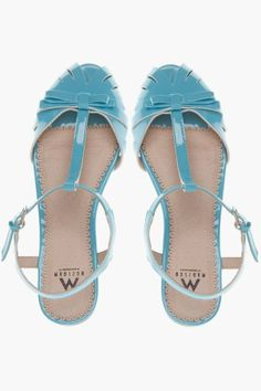Blue T-Strap Bow Flats ❥ SO cUte!