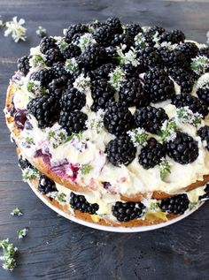 Italian Lemon Olive Oil Cake with Blackberries and Mascarpone