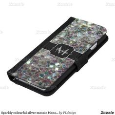 Personalize Sparkly colourful silver mosaic Monogram iPhone 6 Wallet Case by #PLdesign #SilverMosaic #SparklesCase