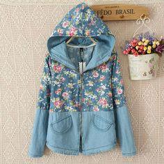 Long Sleeve Floral Print Blue Hooded Denim Jacket