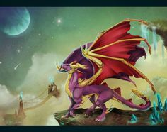 Spyro character, fan art -- close to space by KittyTheSilence on deviantART