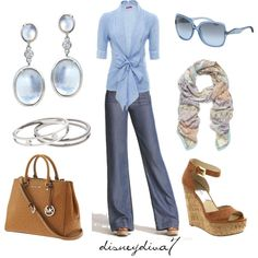 """Blue Heaven"" by disneydiva7 on Polyvore. Absolutely fantastic top. And bag. And scarf. And ..."