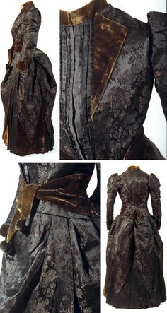 "Dress, probably Japanese, ca. 1887. Silk, silk satin, figured silk velvet. Chrysanthemum pattern. As part of Japan's ""Europeanization"" policy, women were encouraged to wear Western-style clothing, although the sash on this dress is distinctly reminiscent of the obi. Bunka Costume Museum"