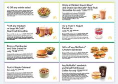 "Go ahead, indulge in your guilty pleasure... McDonald's coupons for their ""healthier"" options."