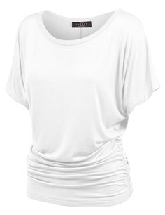 MBJ Womens Short Sleeve Boat Neck Solid Shirring Dolman Drape Top at Made By Johnny