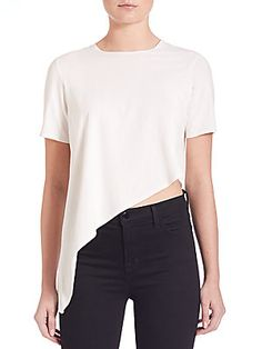 Kendall   Kylie Short-Sleeve Asymmetrical Top