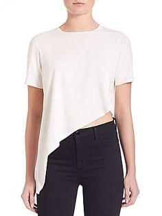 Kendall   Kylie Short-Sleeve Asymmetrical Top