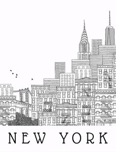 New York Hand Drawn Illustration Postcard Travel by JunkyDotCom - Hand drawn black and white illustration of New York City skyline, buildings and pattern - Manhattan Brooklyn USA Nyc Drawing, New York Drawing, New York Illustration, Building Illustration, Hand Illustration, Medical Illustration, Black And White Drawing, Black And White Illustration, New York Buildings