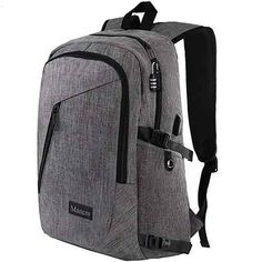 Laptop Backpack, Travel Computer Bag for Women & Men, Anti Theft Water Resistant College School Bookbag, Slim Business Backpack w/USB Charging Port Fits Under Laptop & Notebook by Mancro (Grey): Computers & Accessories Laptop Backpack, Travel Backpack, Laptop Bags, Fashion Backpack, Travel Luggage, Backpack Bags, Travel Bags, Business Laptop, Business Travel