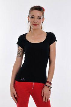 e78feef21e8d Chemise Col rond noir femme Manches courtes   T-Shirt imprime élément jour  de 3Elfen