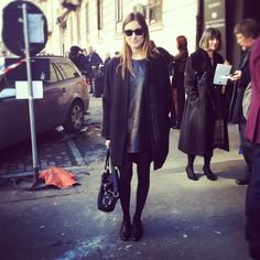 #black #coat #dress #flats